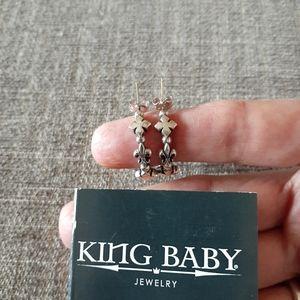 King Baby Sterling Fleur-De-Lis & Cross hoops